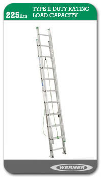 Werner Ladders - D1200-2 	Type II Flat D-Rung Extension Ladder