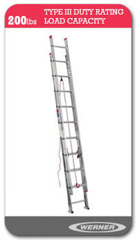 Werner Ladders - D1100-2  Flat D-Rung Extension Ladder