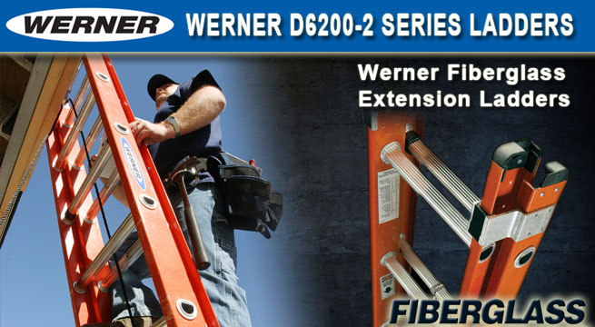 Werner D6200-2 Series Fiberglass Extension Ladders